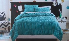 Xhilaration 3 Pc Comforter Bed Set ~ Teal Full/Queen NEW Rouched Teal #Xhilaration