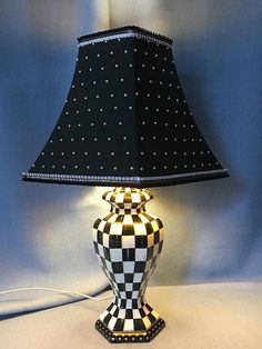 Black & White Chequered Hand Painted Table Lamp
