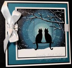 Cats on Watch Stampin' Up! Card created by Michelle Zindorf using Stampin' Up! products - Festive Fireplace and Joyful Season Pop Up Cards, Christmas Cards, Christmas 2019, Dog Cards, Marianne Design, Animal Cards, Winter Cards, Copics, Halloween Cards