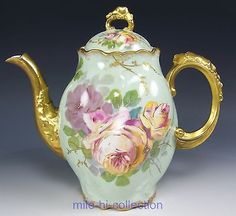 LIMOGES FRANCE HAND PAINTED ROSES COFFEE POT