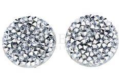 Oryginalne, okrągłe kolczyki ze srebra pr. 925 w kształcie kółek wysadzanych kryształami Swarovski ELEMENTS