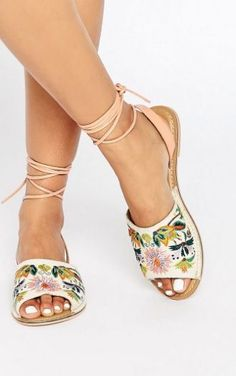 ASOS embroidered flat sandals