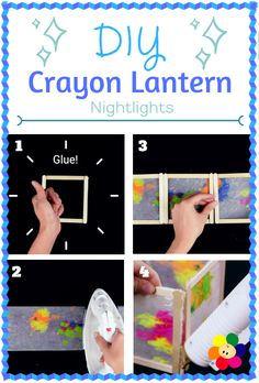DIY Crayon Lantern Nightlights are fun and can be made with simple household items - Learn how to make your own lanterns here: http://www.babyfirstblog.com/diy-crayon-lantern-nightlights/ #DIY #BabyFirst #ArtsandCrafts #Lantern #Parenting