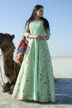 Excited to share this item from my shop: Sea green thread embroidery silk kaftan gown dress zari indian designer wedding wear women dresses pakistani clothes Anarkali Source by dresses pakistani Indian Gowns Dresses, Indian Fashion Dresses, Indian Designer Outfits, Designer Dresses, Pakistani Outfits, Indian Outfits, Anarkali Dress, Kaftan Gown, Silk Kaftan
