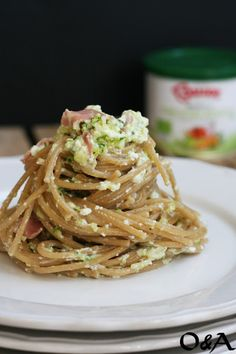 Olio e Aceto: Spaghetti con crema di zucchine ricotta e mortadella