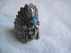 Vintage Sterling Silver Indian Chief Ring Size by pollygolightly