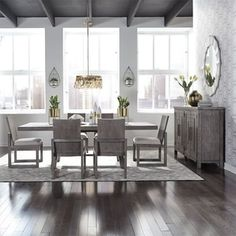 Shop The Gray Barn Hammond Mill Modern Farmhouse 7-piece Trestle Table Set - Overstock - 28565480 Bar Furniture, Furniture Styles, Furniture Deals, Dining Room Furniture, Modern Furniture, Plank Table, Trestle Dining Tables, Dining Room Bar, Dining Rooms