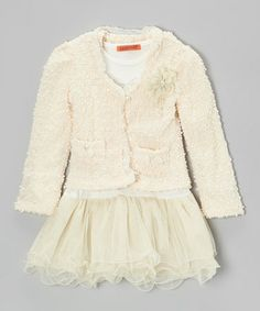 Take a look at this White Bow Tutu Dress & Off-White Bouclé Jacket - Toddler & Girls by Funkyberry on #zulily today!