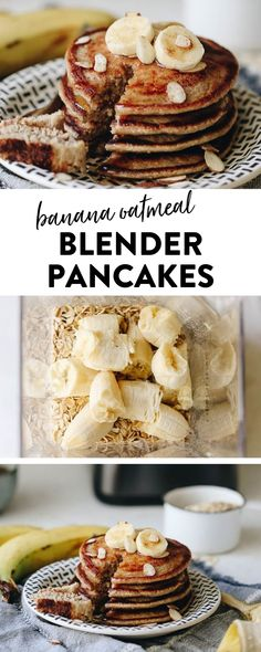 Sunday morning banana pancakes have never been so easy with these banana oatmeal blender pancakes made entirely in the blender! Just throw all the ingredients in and then blend together for a delicious and nutritious breakfast that also happens to Nutritious Breakfast, Healthy Breakfast Smoothies, Fruit Smoothies, Healthy Morning Breakfast, Healthy Oatmeal Breakfast, Vegan Oatmeal, Banana Breakfast, Sunday Breakfast, Oatmeal Pancakes Easy