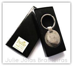 35652f116 Chaveiro em aço com gravação à laser ( steel key holder with laser  engraving). Julie Joias Brasileiras