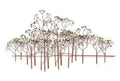 "The Elms $399. Create a whimsical escape on your walls with this brass and copper wire rendering of a cluster of elms. 55 inches wide.  For more than four decades, C. Jeré by Artisan House's vibrant, versatile designs have been recognized as multi-dimensional ""metal works of art."" From smaller representational sculptures like trees, branches and small scenes to larger-scale artwork that is contemporary, trendy or traditional in style, every piece will inspire you with its dazzling…"