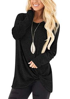 Women's Casual Black T Shirts Twist Knot Tunics Tops – Sampeel Long Sleeve Tee Shirts, Long Sleeve Tops, Tie Shirts, Plain Shirts, Shirt Blouses, Collars For Women, T Shirts For Women, Clothes For Women, Casual Tops