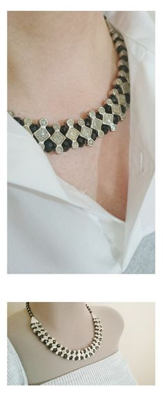 Black Crystal Beaded Statement Necklace  Crystal by LTLDizaynDIY
