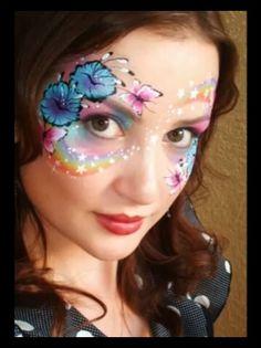 Rainbow, flowers & butterflies - face painting design