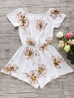 Floral Print Off The Shoulder Drawstring Romper - White Summer Outfits, Cute Outfits, Summer Clothes, Shorts Jeans, Bohemian Style Dresses, Cute Rompers, Jumpsuits For Women, Dress To Impress, Just In Case