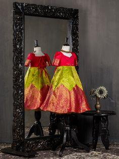 Raspberry and Grape Green Zig Zag Kanjivaram Silk Lehenga Choli have a V neckline and zip closure. Kids Party Wear Dresses, Wedding Dresses For Kids, Dresses Kids Girl, Baby Dresses, Girls, Kids Blouse Designs, Kurta Designs Women, Baby Dress Design, Frock Design