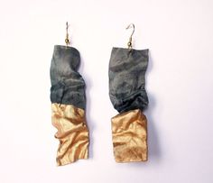 Earrings dangle handmade textile fiber silk by TanjaDesign on Etsy