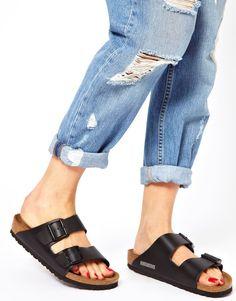 Image 1 ofBirkenstock Arizona Black Leather Two Strap Narrow Fit Sandals