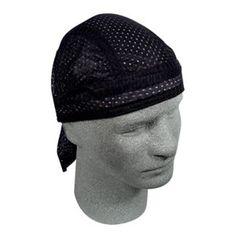 Black Vented Terry Cloth Sweatband Doo Rag Headwrap Skull Cap ZX114 Zan Headgear #ZanHeadgear #Vented
