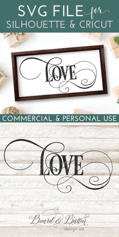 """Create your own stunning wedding decor with this gorgeously elaborate """"love"""" SVG File by Board & Batten. Part of a whole matching set for Silhouette & Cricut machines including words, phrases, and ready-made sign designs, this design will give your wedding the classy yet modern flair that is just your style."""