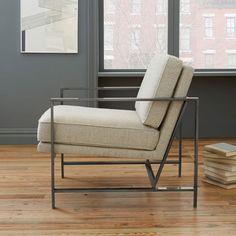 Metal Frame Upholstered Chair   west elm $650 in med/ dark blue