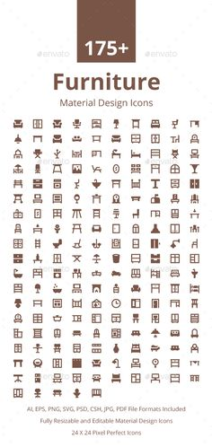 175+ Furniture Material Design Icons. Download here…