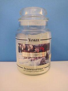 Yankee White Christmas Black Band 22 oz. Jar Candle, White Bottom #Yankee #YankeeCandle