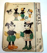 Vintage McCall Sewing Craft Pattern Mickey & Minnie Mouse Dolls Disney 1933 ebay 89.99