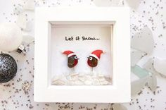 Pebble Art Robins by Rebecca Kate. Far Far Away Art, Etsy. A quirky little Christmas Gift!