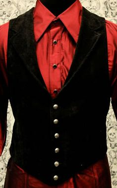 Victorian Aristocrat Vest A victorian gentleman's vest with class.  Great for formal occasions, can be worn under a suit jacket or by itself.  Made in rich black Velvet with black satin lining and back. #goth #gothic #punk #punkrock #rockabilly #psychobilly #pinup #inked #alternative #alternativefashion #fashion #altstyle #altfashion #clothing #clothes #vintage #noir #infectiousthreads #horrorpunk #horror #steampunk #zombies #burningman #tattoos #shrine