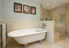 Clawfoot tub in master bathroom.  This is our set up.