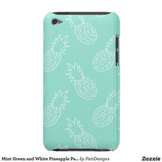 Mint Green and White Pineapple Pattern