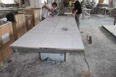 Table making. Conference table with solid surface and stainless steel table base - TW-MATB-021 - Tell World Solid Surface