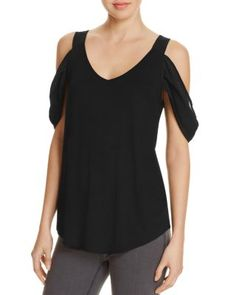 Kim & Cami Cold Shoulder Mixed Media Top | Bloomingdale's