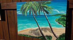 Beach Oasis Original Acrylic Painting by BrushstrokesbyMeggen