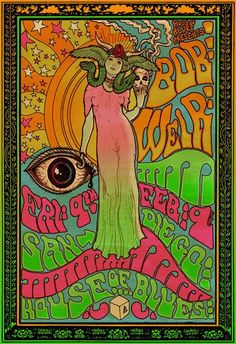 Bob Weir of The Grateful Dead Psychedelic rock poster. $30.00, via Etsy.