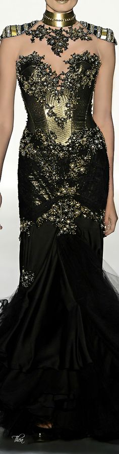 "chasingrainbowsforever: "" Samuel Cirnansck "" ♥  ~ Black and gold fashion dress~"
