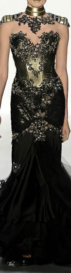 "chasingrainbowsforever: "" Samuel Cirnansck "" ♥  ~ Black and gold fashion dress~"