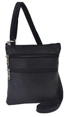 Women s Sheep Leather Crossbody Shoulder Bag Three Pocket Black Brown Or Tan b1f56474fa252