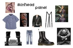 """painel ""Skinhead"""" by oharaalves on Polyvore featuring Dr. Martens, Fred Perry, American Apparel, Club Monaco, Annelise Michelson, men's fashion e menswear"