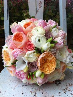 Garden roses, ranuncula and freesia bridal bouquet