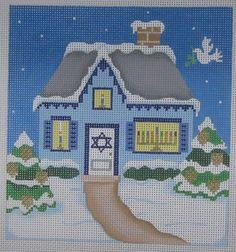 Handpainted+Needlepoint+Canvas+Pepperberry+Hanukkah+Holiday+House+Judaic+HH06+#PepperberryDesigns