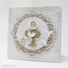 Table Flower Arrangements, Table Flowers, First Communion Cards, Communion Dresses, Cute Cards, Christening, Holi, Scrapbooking, Frame