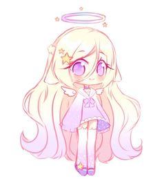 anime chibi [OTA -closed ] Star Angel by Seraphy-chan - Dibujos Anime Chibi, Cute Anime Chibi, Kawaii Chibi, Kawaii Art, Kawaii Anime Girl, Anime Art Girl, Cute Animal Drawings, Cute Drawings, Kawaii Girl Drawings