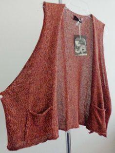 Eskandar waist coat lagenlook vest artsy rust Linen handloomed sz OS NWT $850 #eskandar #Vest