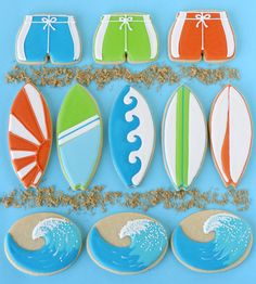 Surfboard and Wave Decorated Cookies - by Glorious Treats
