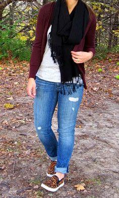burgundy cardigan, black scarf, grey tee, leopard slip on sneakers