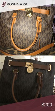 A michael kors large saffiano leather satchel It is brown with MK logos with a tan trim. It has 2 handles and it has a crossbody belt as well. There is no damage and it is 100% real MICHAEL Michael Kors Bags Satchels