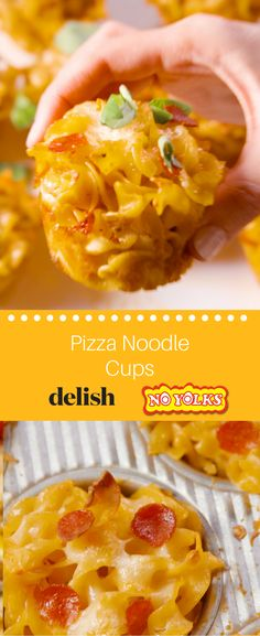Pizza Noodle Cups with No Yolks Noodles Muffin Pan Recipes, Pizza Cups, Egg Noodle Recipes, Light Snacks, How To Make Pizza, Board Ideas, I Love Food, Pasta Dishes, Finger Foods