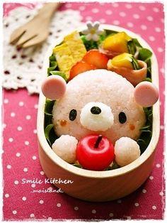 Apple pink bear bento